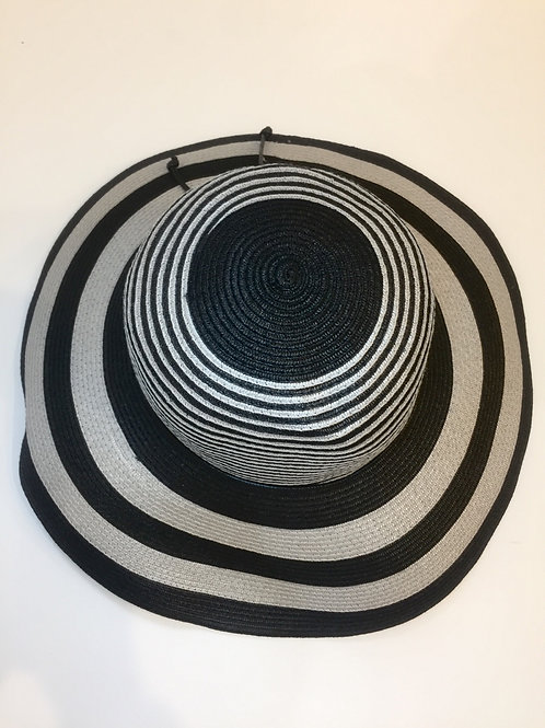 Large adjustable   Black/silver sun hat