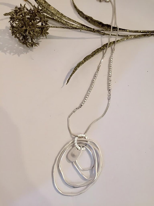 Fashion long silver necklace