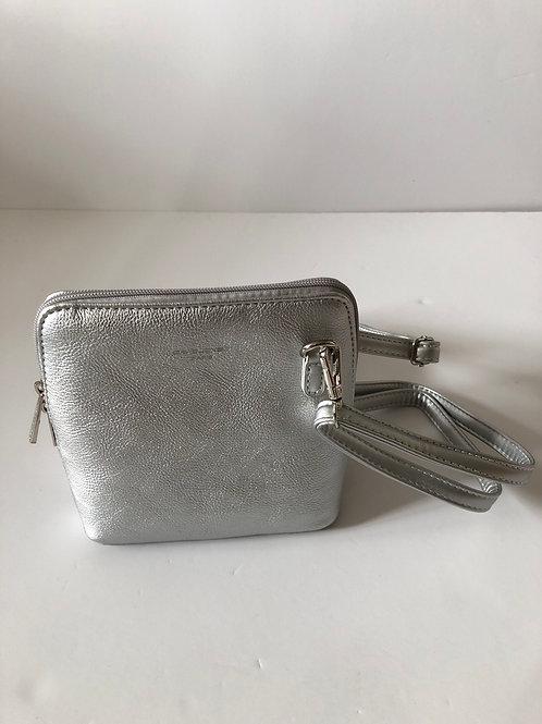 Metallic silver crossover bag
