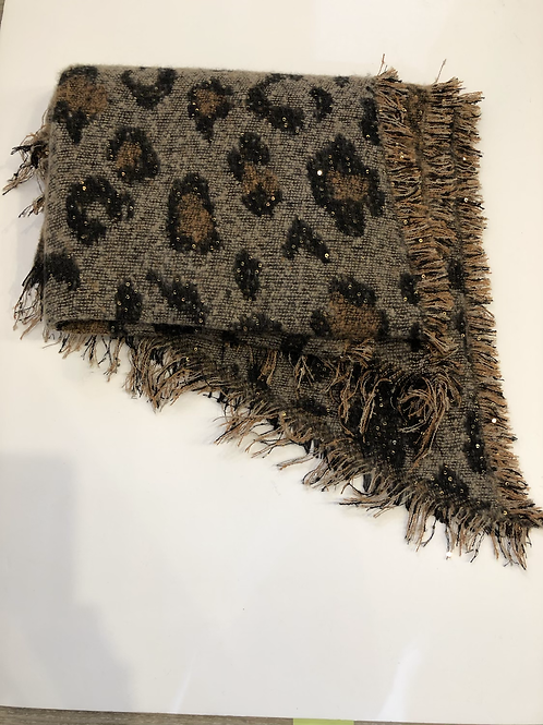 Leopard print scarf with sparkle