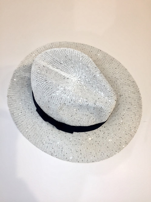 Adjustable sparkly sunhat with navy band