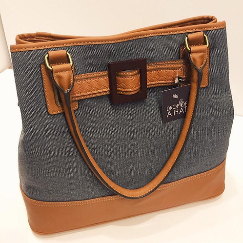 Bag in Denim blue and tan