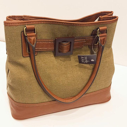 Bag with tan handles and buckle