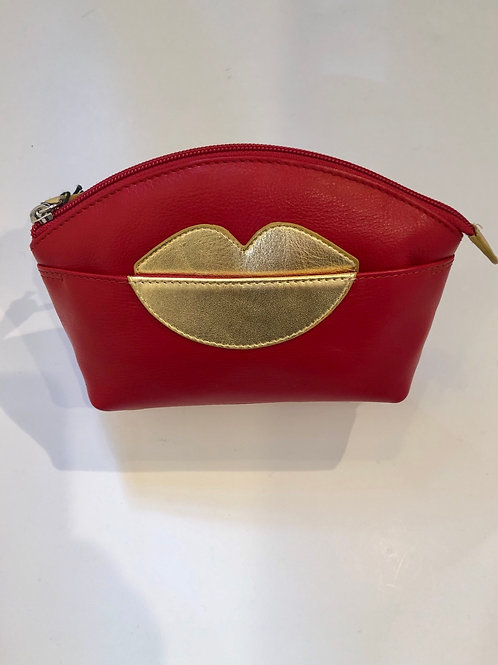 Lips leather makeup bag in red and gold