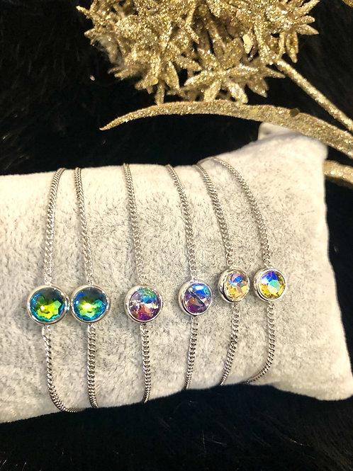 Fashion silver bracelet with single stone
