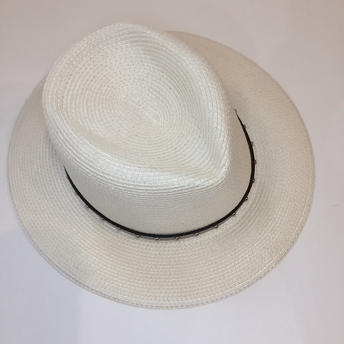 Adjustable sun hat with taupe studded band