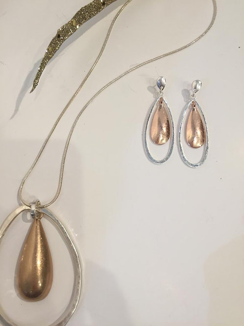 Fashion silver and rose gold earings