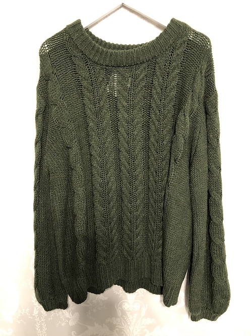 Olive Green Cable Jumper size Large only . Up to size 14.