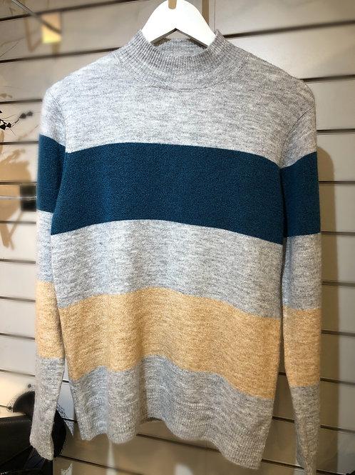 Grey/green stripe jumper