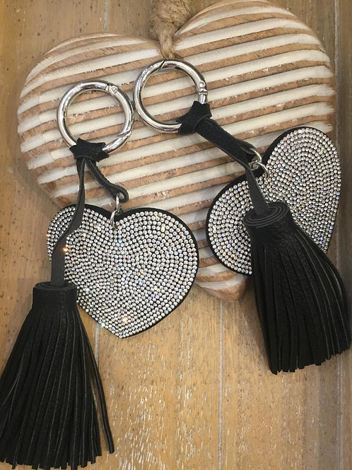 Heart key ring with tassel