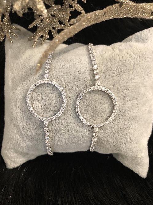 Fashion crystal pull silver bracelet