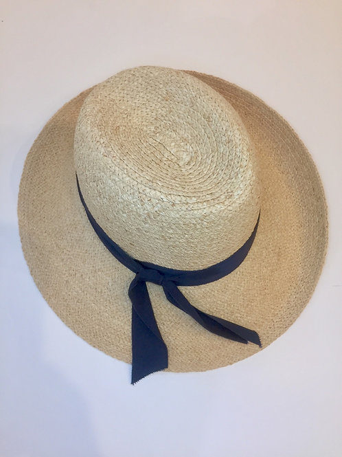 Adjustable sun hat with navy band