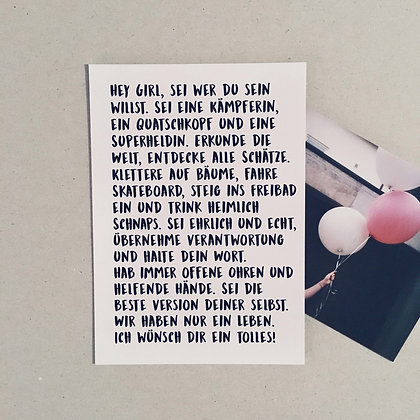 Postkarte HEY GIRL, Vorderansicht, Love is the new black