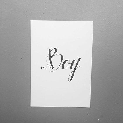 Postkarte BOY, Vorderansicht, Love is the new black