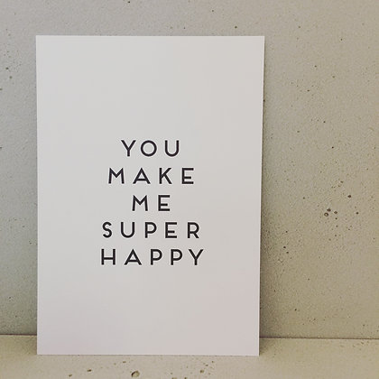 Postkarte SUPER HAPPY, Vorderansicht, Love is the new black