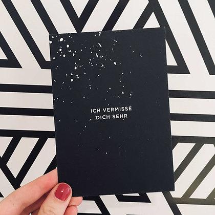 Postkarte ICH VERMISSE DICH, Vorderansicht, Love is the new black