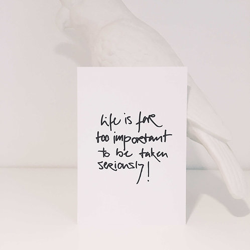 Postkarte TOO IMPORTANT, Vorderansicht, Love is the new black