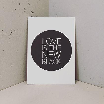 Postkarte BUTTON, Vorderansicht, Love is the new black