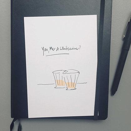 Postkarte WHITEWINE, Vorderansicht, Love is the new black