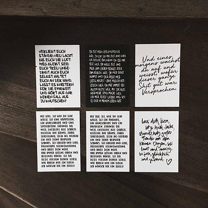 Postkartenset TEXT-Edition, Vorderansicht, Love is the new black