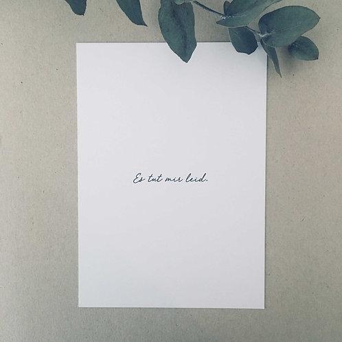 Postkarte ES TUT MIR LEID, Vorderansicht, Love is the new black