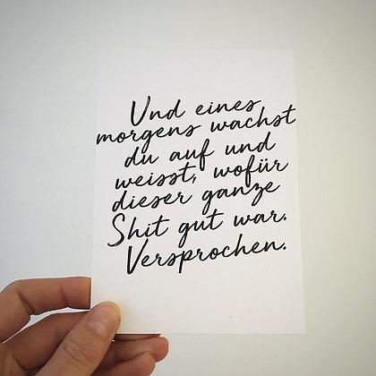 Postkarte UND EINES MORGENS, Vorderansicht, Love is the new black