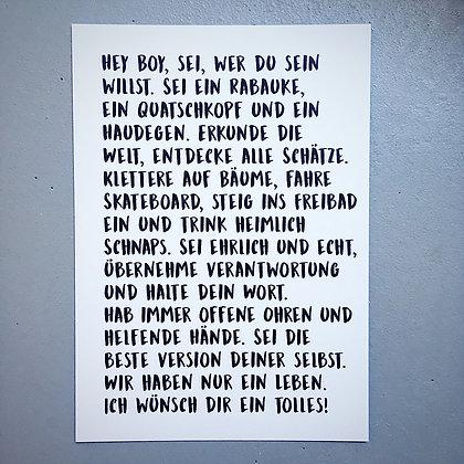 Postkarte HEY BOY, Vorderansicht, Love is the new black