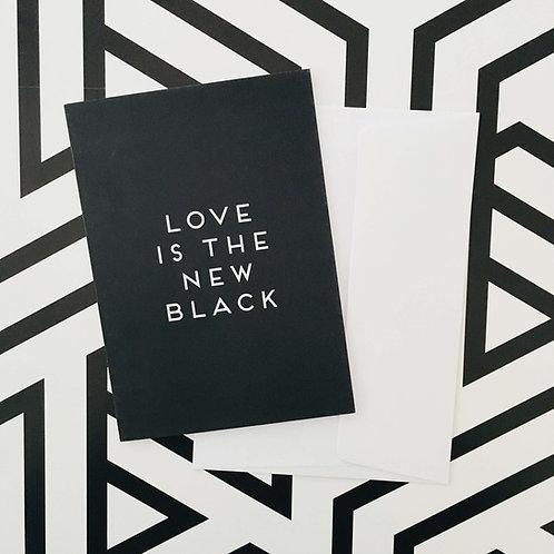 Klappkarte FULL BLACK, Vorderansicht, Love is the new black