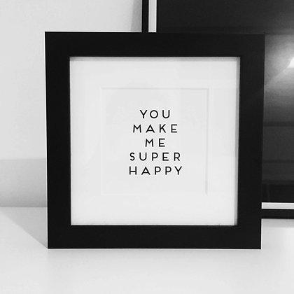 Frame SUPER HAPPY, Vorderansicht, Love is the new black