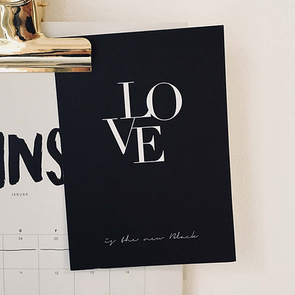 Postkarte LIGATUR, Vorderansicht, Love is the new black