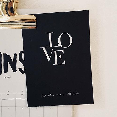 Postkarte LIGATUR, Vorderansicht, Love is the new black