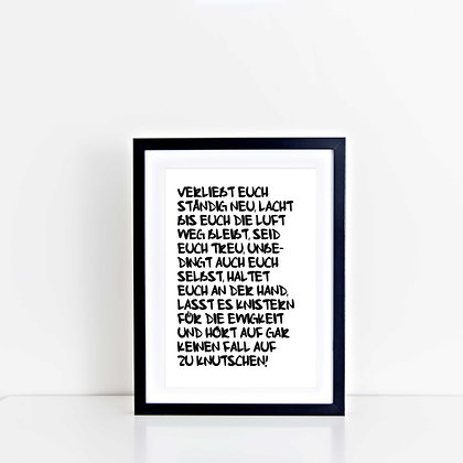 Frame VERLIEBT EUCH, Vorderansicht, Love is the new black
