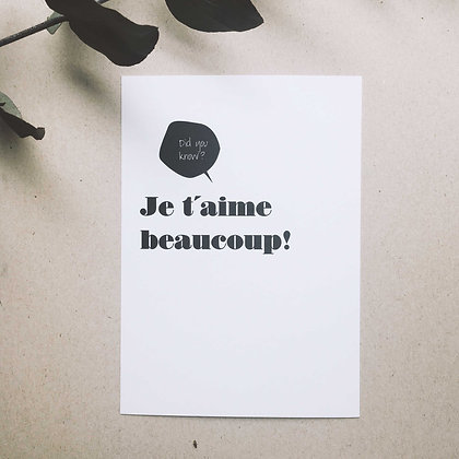 Postkarte JE T'AIME BEAUCOUP, Vorderansicht, Love is the new black