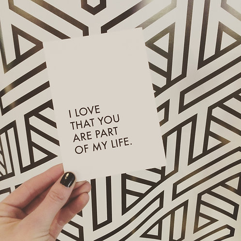 Postkarte PART OF MY LIFE, Vorderansicht, Love is the new black