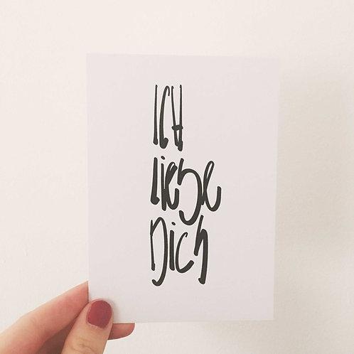 Postkarte ICH LIEBE DICH, Vorderansicht, Love is the new black
