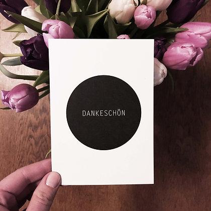 Postkarte DANKESCHÖN, Vorderansicht, Love is the new black