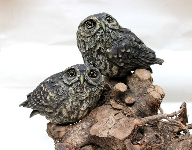Bird sculpture - 2 Little owls