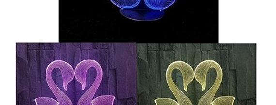 3D Kuğu Şeklinde Dekoratif Gece Lambası