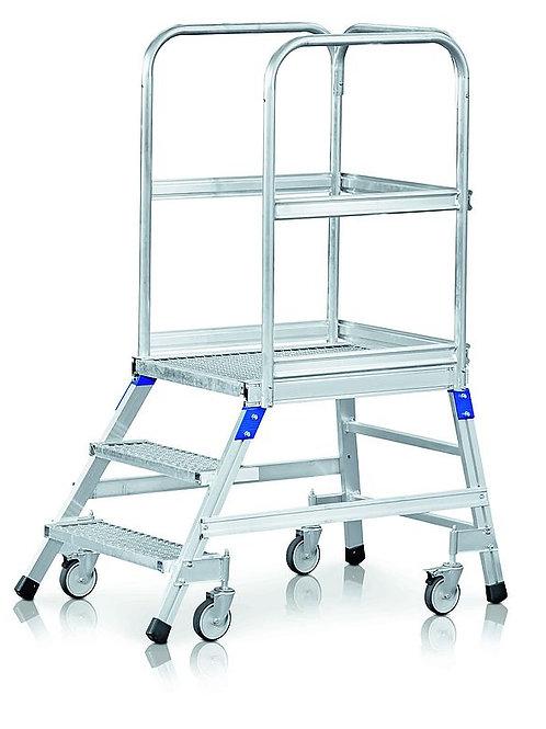 Односторонний передвижной трап со стальными решетчатыми ступенями (3 ст.)