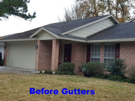 House before gutters.