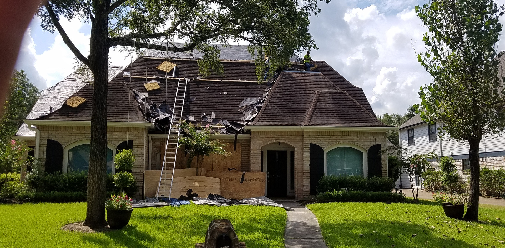 Old roof being removed.