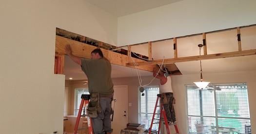 Installing overhead beams
