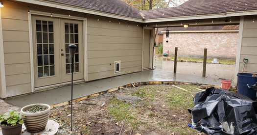 Freshly poured concrete walkway and driveway