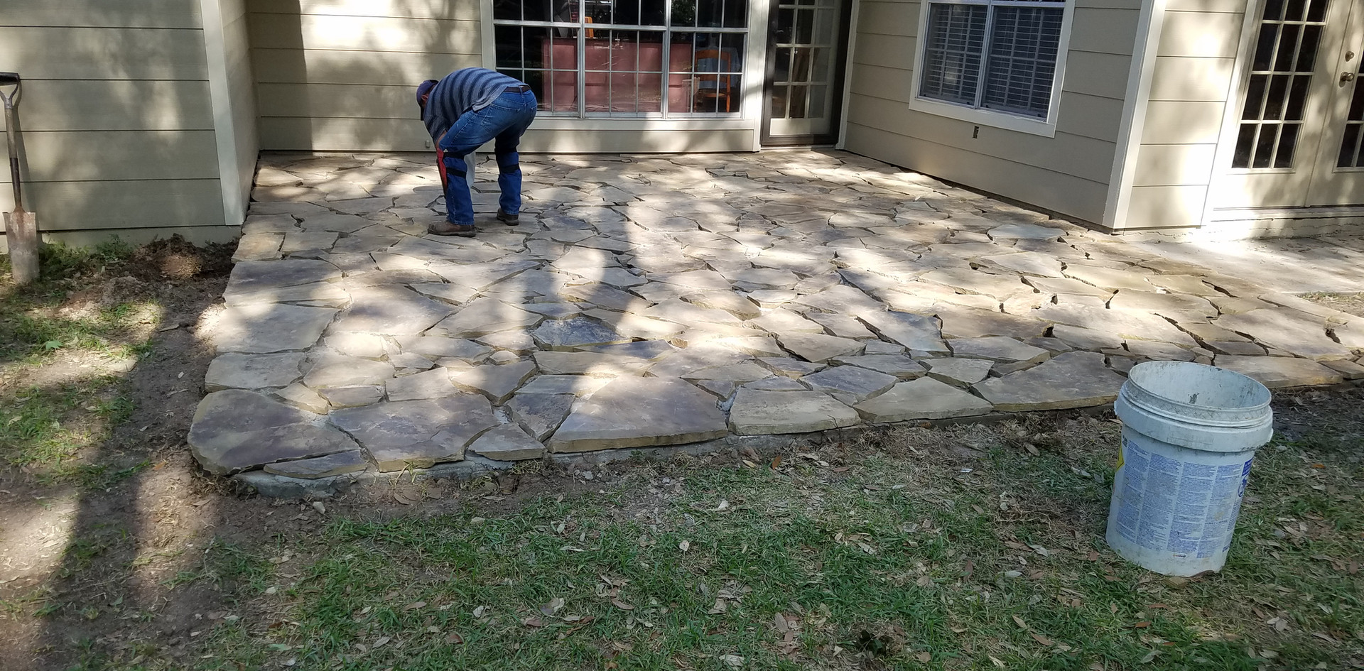 New Concrete and Flagstone Patio Project in Progress