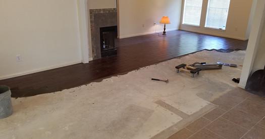 New tile floors being installed.