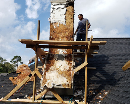What the chimney looked like once the EFIS (exterior) was removed and the full extent of the rot was revealed.