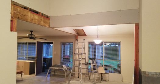 Drywall going in on newly opened rooms