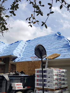 Paper on a roof about to be shingled.
