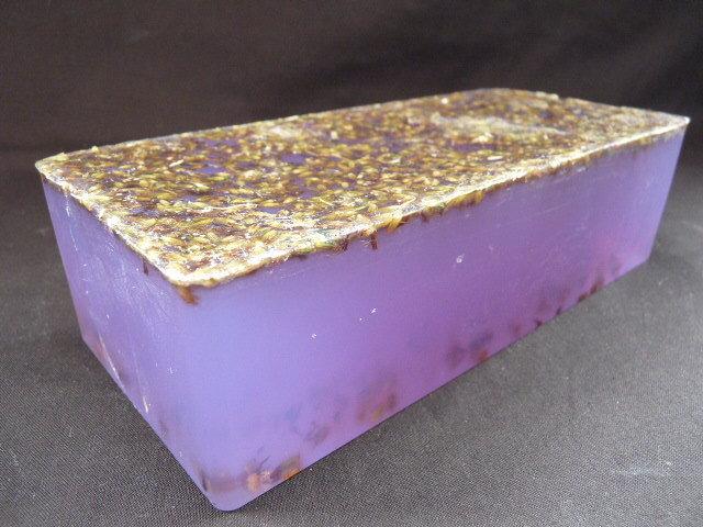 600g Handmade Soap Loaf - Lavender Essential Oil with Lavender Flowers