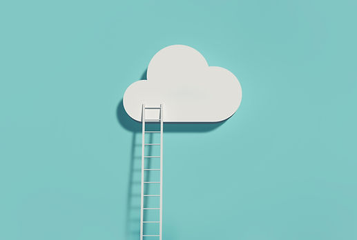 A white ladder leading to a white cloud on a light teal background.